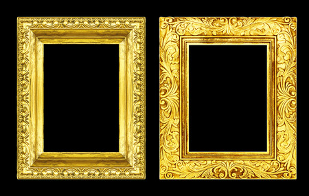 baroque picture frame: Set 2 antique golden frame isolated on black background, clipping path