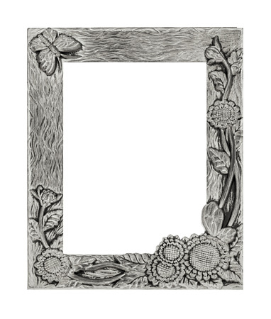 antique silver frame isolated on white background, clipping path, sunflower and butterfly tracery. photo