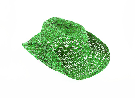 brim: hat isolated on white background, cowboy hat green color Stock Photo