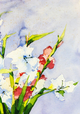16 years: Gladiolus flower watercolor painting, Drawing on 16 years ago