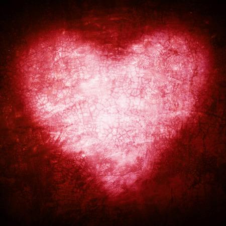 グランジ フレーム、ハート型の赤い色、バレンタインデー。