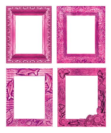 Set 4 cadre rose antique isolé sur fond blanc, chemin de détourage Banque d'images - 37987237