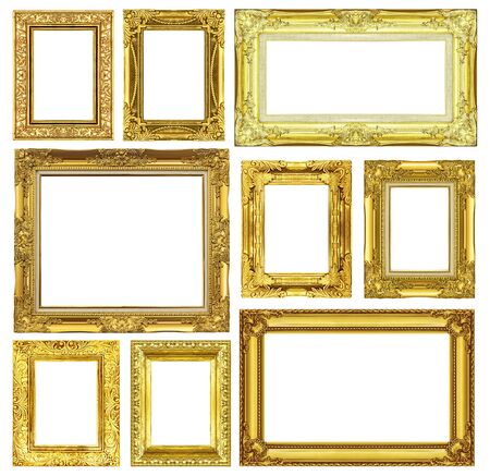 Set of golden vintage frame isolated on white background photo