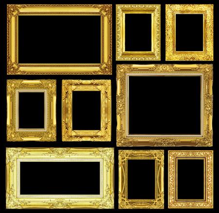 Set of golden vintage frame isolated on black background.