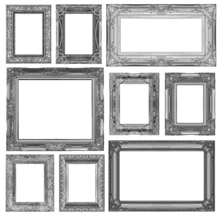 antique furniture: Set of gray vintage frame isolated on white background
