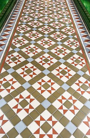 tiled: vintage tiled floor background. Stock Photo