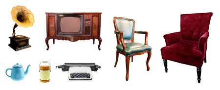 luxurious sofa: Collection decorative vintage style, television, kettle, pot, chair, old, blue kettle, flask, luxurious sofa, leather chair