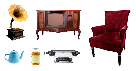 luxurious sofa: Collection decorative vintage style, television, kettle, pot, chair, old, blue kettle, flask,  type writer and luxurious sofa Stock Photo