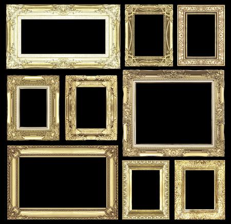 antique frames: Set of golden vintage frame isolated on white background