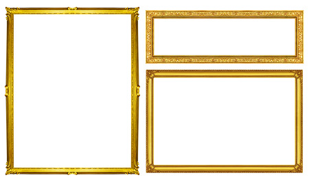 vintage frame: collection golden frame isolated