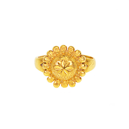 front side: gold ring on white background, front side. Stock Photo
