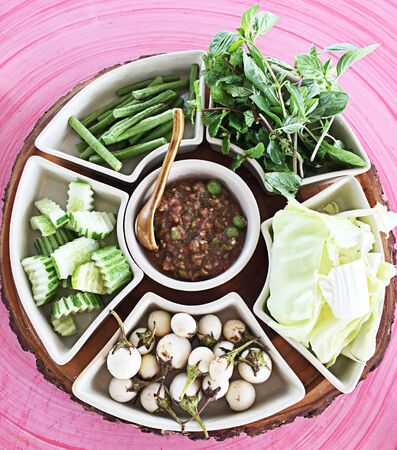 nam: Nam prik krapi, Thai food Stock Photo