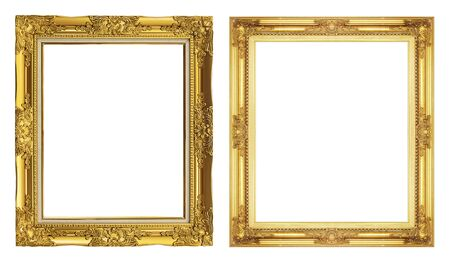 family picture: collection 2 antique golden frame isolated on white background, clipping path.