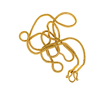 Gold chain necklace isolated on white  background.