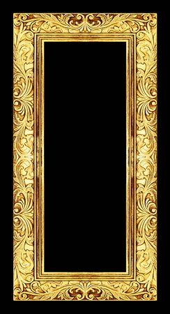 antique: antique golden frame isolated on black background,  Stock Photo