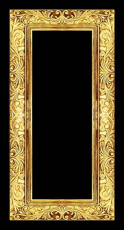 grabado antiguo: marco antiguo de oro sobre fondo negro, Foto de archivo