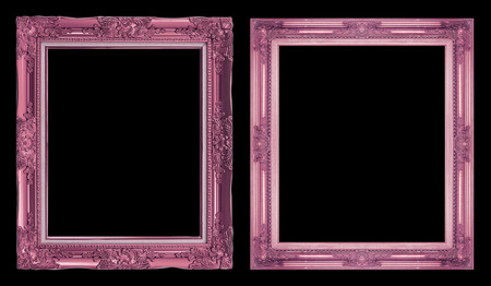 collection 2 antique pink frame isolated on black background, clipping path.