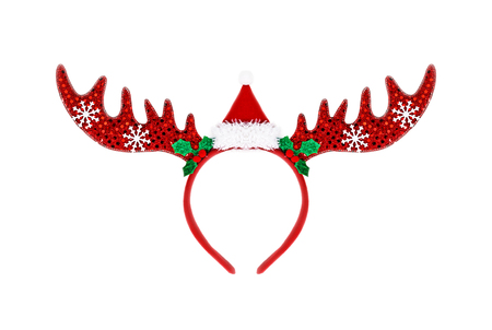 santa moose: Pair of toy reindeer horns. Isolated on a white background.