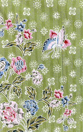 printed: Printed fabrics butterfly and rose flower texture or background.