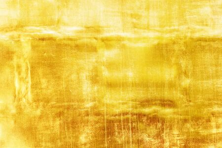 weft: Gold wall background or texture and shadow, Old metal. Stock Photo