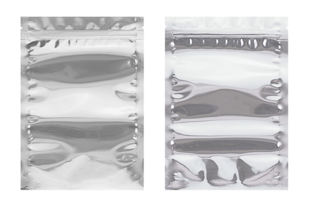 aluminium background: Aluminium bag package,  front and back isolate on white background.