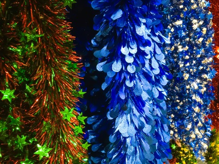 the tinsel: Tinsel of christmas tree for background