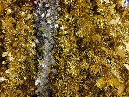 the tinsel: Tinsel of christmas tree for background. Stock Photo