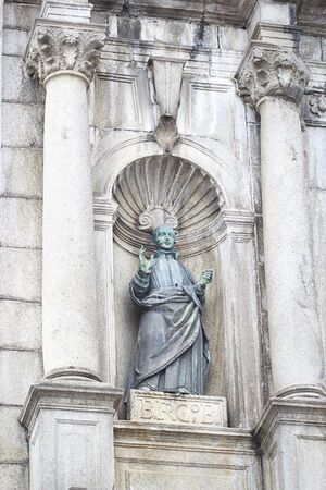 MACAU, CHINA %u2013 DECEMBER 16, 2017 : The Ruins of St. Pauls Built from 1602 to 1640 by the Jesuits, the ruins are one of Macaus best known landmarks, no body close-up detail of sculpture.