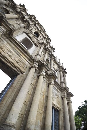 MACAU, CHINA %u2013 DECEMBER 16, 2017 : The Ruins of St. Pauls Built from 1602 to 1640 by the Jesuits, the ruins are one of Macaus best known landmarks, no body and Worm%u2019s eye view.