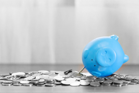 Blue piggy bank on top of coins money for money flow concept and gray background.