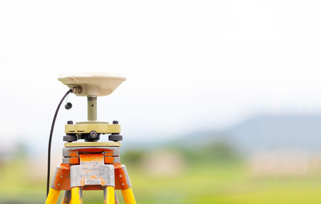 GPS surveying in field, Global Positioning System. Stock Photo
