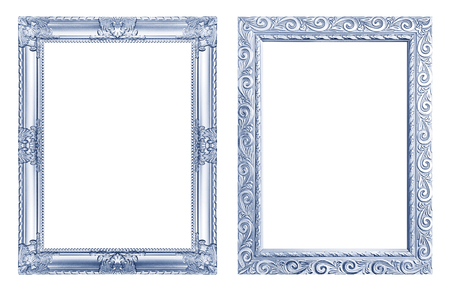 Set 2 - Antique blue frame isolated on white background, clipping path.