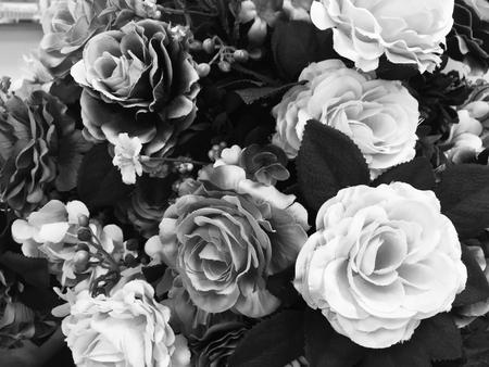 Fiore di rosa finto colore bianco e nero per lo sfondo Archivio Fotografico