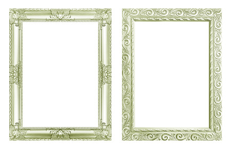 Set 2 - Antique green frame isolated on white background, clipping path.