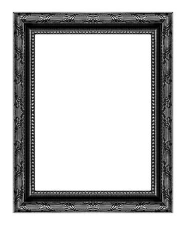Antiker schwarzer Rahmen lokalisiert auf weißem Hintergrund, Beschneidungspfad. Standard-Bild