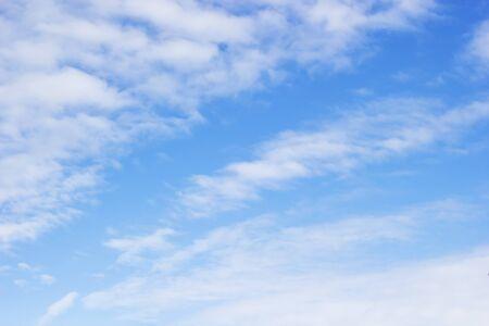 Blue sky background and soft white clouds, copy space. Reklamní fotografie - 127110991