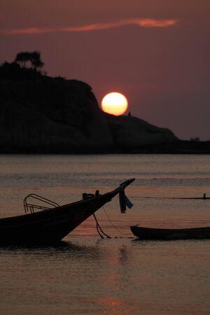 koh tao: Boat in sunset : Koh Tao Thailand Stock Photo