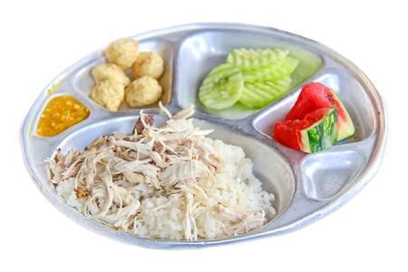 lunch tray: school lunch tray with Thai local food on white background