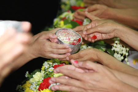 songkran festival is new year in Thailand, water blessing ceremony of adults