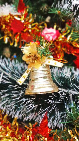 Close up Christmas tree decorations and New Year background, Winter holiday decoration, selective focus