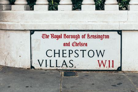 Chepstow Villas name sign, London, UK Stock fotó