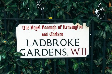 Ladbroke Gardens name sign, Notting Hill, London, UK Stock Photo