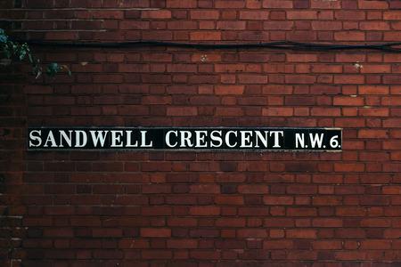 Sandwell Crescent street sign, Hampstead,  London Borough of Camden, UK Stock fotó