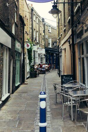 London, UK - July 23, 2018: Turnpin Lane towards the Greenwich Market, London, UK