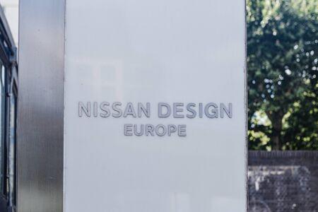 LondonUK - 220719: Nissan Design Europe logo on a stand near the office in Paddington, London