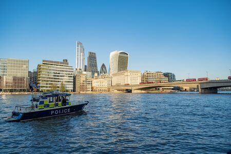 London / UK - Nov 29, 2019: busses stopped on the London bridge because of the Friday's stabbing attack on November 24, 2019, London, UK Editorial