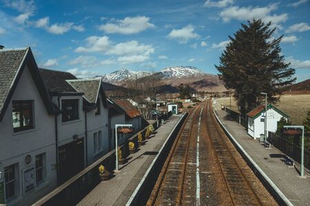 Strathcarron railway station, a remote railway station on the Kyle of Lochalsh Line, serving the small village of Strathcarron and the larger village of Lochcarron in the Highlands, Northern Scotland