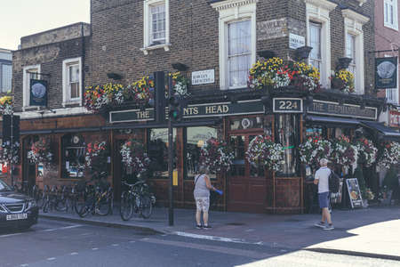 London/UK-2/08/18: The Elephants Head Pub, a local pub on Camden High Street in Camden Town. Pubs are a social drinking establishment and a prominent part of British culture