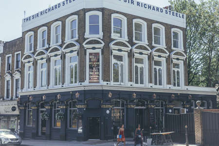 London/UK-2/08/18: Sir Richard Steele, an independent pub on Haverstock Hill in Belsize Park, dating back to Victorian times. A public house named after Richard Steele an Irish writer and politician