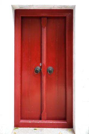 red door: Old wooden red door